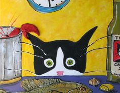 Cat Art - Tuxedo Cat with Lobster - - 5x7 print in 8 x 10 Mat on Etsy, 18,00$