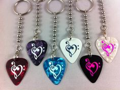 CLEF HEART Guitar Pick Keychain - Pick detaches for use - KC001 via Etsy