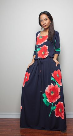 Maxi Dress Long Sleeve Navy Blue dress with Floral by Nuichan, $59.00