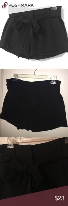 """High Waist Black """"Paper Bag"""" Shorts w/ Cuff 