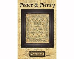 Peace and Plenty - hand embroidery pattern featuring a primitive folk art house and home with gardens, bees, beeskep, birds and a cat. $8.00, via Etsy.