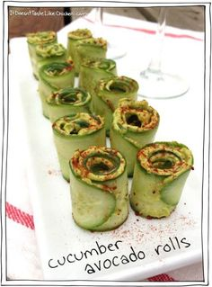 Easy, Yummy Cucumber Avocado Rolls - INGREDIENTS: 1 avacado, 1/4 c of basil leaves (a small bunch), 1 clove garlic, 2 tsp lime juice, 1/4 tsp salt, 1 tbs nutritional yeast, several grinds of pepper, 1 cucumber, and smoked or sweet paprika for garnishing.  INSTRUCTIONS: 1. Place all ingredients (except the cucumber and paprika) into a food processor or blender.  If you prefer to mix by had, finely mince the garlic and basil, and mash all of the ingredients together with a fork until smooth…