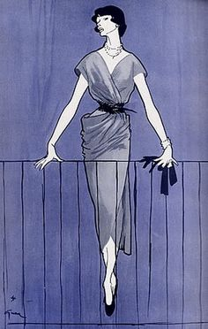 Fashion Illustrator René Gruau, Oct. 1948, Marcel Rochas, French Magazine Femina.