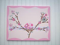 Pink Clara Bird Nest in Tree Flower Nursery Kids Wall Art Decor M2M Pottery Barn Pink Grey