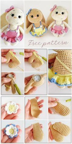Amigurumi Spring Bunny in Dress Free Crochet Pattern - Amigurumi Crochet