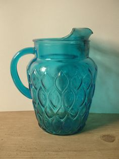 Mid century blue glass pitcher