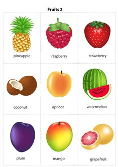 Kids Pages - Fruits 2 - free flashcards - pdf - 2 sizes - free Kids English, English Study, English Class, English Words, English Lessons, English Grammar, Teaching English, Learn English, English Language