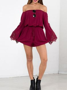 Burgundy Off The Shoulder Lace Crochet Hollow Romper -SheIn(Sheinside) Mobile Site