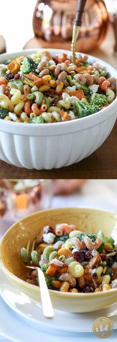 Fall Harvest Pasta Salad recipe / fall side dish via inspiredbycharm.com