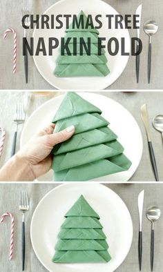 DIY Christmas Tree Napkin Fold Tutorial ~ Add a festive touch to your Christmas Table with these Christmas Tree Napkins! Christmas Tree Napkin Fold, Diy Christmas Tree, Christmas Projects, Winter Christmas, All Things Christmas, Christmas Holidays, Christmas Decorations, Xmas Tree, Christmas Images
