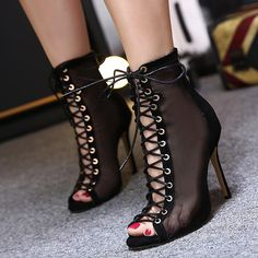 Roma Womens Lace Up High Heels Stilettos Open Toe Strappy Hollow Out Shoes 2017 in Clothing, Shoes & Accessories, Women's Shoes, Heels Black High Heels, High Heels Stilettos, Black Ankle Boots, High Heel Boots, Heeled Boots, Stiletto Heels, Shoe Boots, Very High Heels, Ankle Heels