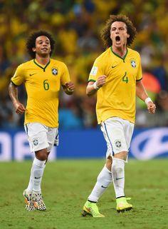 David Luiz and Marcello! Brazil v Colombia: Quarter Final - 2014 FIFA World Cup Brazil