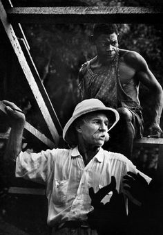 .French Equatorial Africa. Gabon. Lambarene. 1954. Dr. Albert SCHWEITZER with a carpenter, watching the building of the Mission Hospital - Photo W.Eugene Smith
