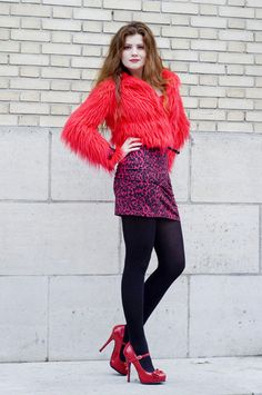 Red dress red shoes black tights for girls