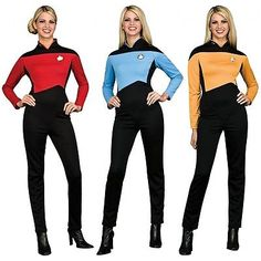 Star Trek TNG Uniform Costume Adult Womens The Next Generation Fancy Dress Star Trek Halloween Costume, Costume Star Wars, Group Halloween, Fancy Dress Womens, Adult Fancy Dress, Star Trek Fancy Dress, Star Trek Enterprise, Star Trek Voyager, Adult Costumes