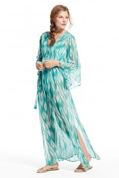 Enjoy an additional 60% off select sale styles this weekend ONLINE ONLY! Kalate Printed Silk Chiffon Caftan