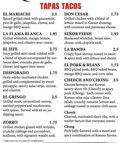 Delicious 101 Catina menu of Tapas Tacos #mexican #lunch #gainesville