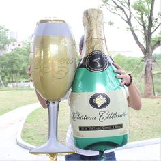 Champagne Bottle Balloon and Champagne glass balloon
