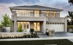 The timeless Hampton's style is at home in The Montauk, designed for harmonious family living. Modern House Plans, Modern House Design, Exterior House Colors, Exterior Design, Style At Home, Hamptons Style Homes, Two Storey House, Storey Homes, Display Homes