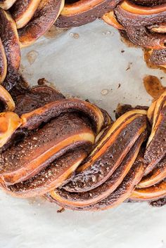 It's hard not to love chocolate babka: a tender yeasted dough ribboned with sweet chocolate filling. And it's even harder not to swoon over its dressed-up holiday version: the chocolate babka wreath. Chocolate Babka, Chocolate Filling, Chocolate Recipes, Naan, Croissants, Bread Recipes, Baking Recipes, Muffin Recipes, Babka Recipe