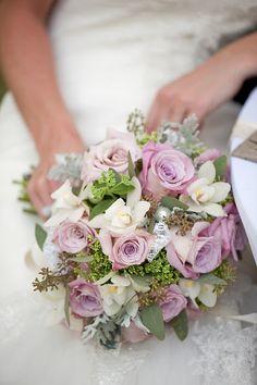 Feminine bridal bouquet.  Grey, purple, vintage.  By Bloom