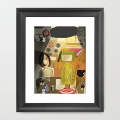with mother in the kitchen Framed Art Print by jei delete - $39.00