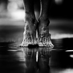 I adore feet - short and chubby, long and wrinkly - so much character. Powerful, lines of life, wrinkles, photo b/w.