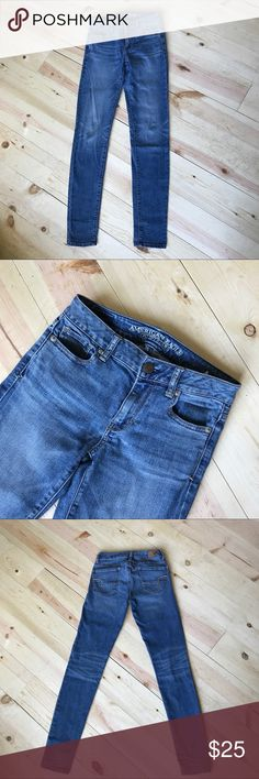 American Eagle Outfitters hi-rise super skinny These hi-rise, super stretch, super skinny AEO jeans are miracle jeans. They are comfortable enough to wear all day for work, play, or lounging around. Great faded look for a cool vintage feel that transfers to any season. American Eagle Outfitters Jeans Skinny