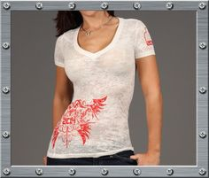 Ornate Winged Logo - Womens - Burnout - 50/50 Cotton/Poly - SS - V-Neck - 2C1H
