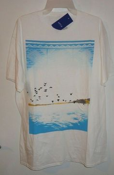 6a116b7f6ab NEW Men s Apt. 9 All Sky Birds Flying Over Water Graphics T-Shirt White