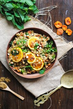 Orange, Mint and Apricot Moroccan Quinoa Salad. Can be prepared dairy free