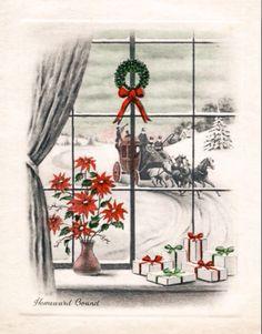 "Vintage Christmas Card: ""homeward Bound"" Window Scene"