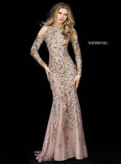 16244c1cce5 Check out the deal on Sherri Hill 51486 Sheer Beaded Long Sleeve Designer  Gown at French Novelty
