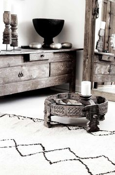 chakki table, white and wood livingroom