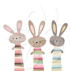 Three Little Rabbits Clip Art Set $4