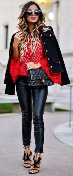 #fall #outfit #ideas | Black + Red