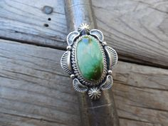 Beautiful turquoise ring handmade and signed in sterling silver by a Ameriacn Indian by Billyrebs on Etsy