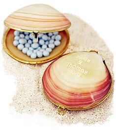 Polished Tiger Clam Trinket Shell Box $3.95 - Great wedding favor idea for a beach wedding.