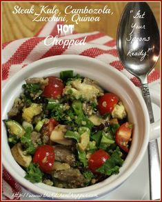 Steak, Kale, Cambozola, Zucchini, Quinoa Hot Chopped   By KC the Kitchen Chopper,                   Start your Healthful eating plan right now! You can do it even with Steak and Cheese, just not too  ...read more