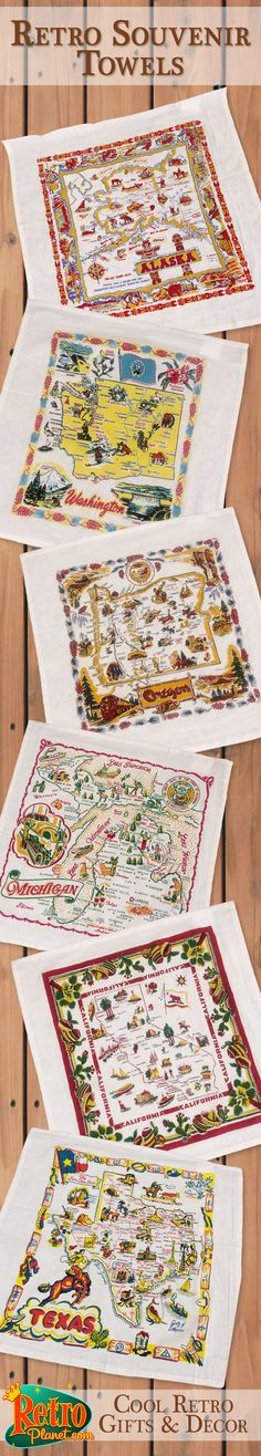 Our Souvenir State Map kitchen towels are made of 100% cotton and would make great gifts or bright, colorful additions to your kitchen decor. Fun to collect one for your home State and for States you have visited. Towels highlight cities, landmarks and other fun features. Our customers have even made cafe style curtains for their homes and travel trailers, fun!