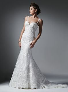 Natalia by Sottero and Midgley is stunning with bold lace appliqué and fit & flair design.