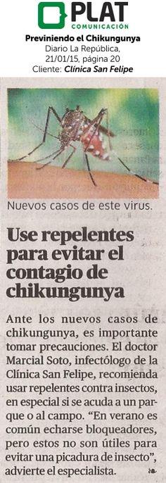 Clínica San Felipe: Consejos para prevenir la Chikungunya en el diario La República de Perú (21/01/15)