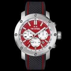 TW STEEL GRANDEUR TECH 48MM RED DIAL CHRONO SILICON WATCH