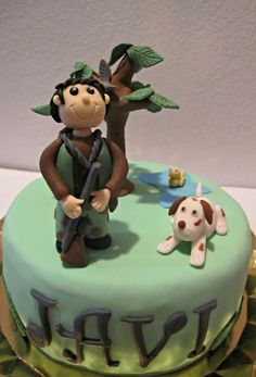 Tarta fondant, cazador, hunter, cake.