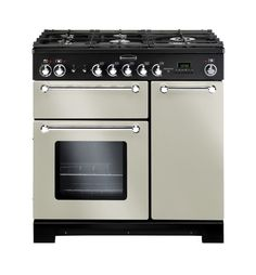 Rangemaster Kitchener 90 Dual Fuel FSD Dual Fuel Range Cooker Freestanding Ivory / Chrome on Appliances Online Electric Range Cookers, Dual Fuel Range Cookers, Electric Oven, Domestic Appliances, Cooking Appliances, Kitchen Appliances, Kitchens, Kitchen Gadgets, Foyers