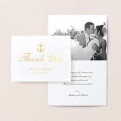 Nautical Gold Anchor Thank You Photo Note Card - elegant gifts classic stylish gift idea diy style