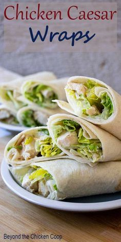 Chicken Caesar Wraps are perfect for lunch or a light dinner. These tortilla wraps are filled with romaine lettuce and chunks of chicken all mixed with a creamy Caesar dressing. Entree Recipes, Wrap Recipes, Bacon Recipes, Easy Dinner Recipes, Breakfast Recipes, Healthy Recipes, Delicious Recipes, Sweets Recipes, Turkey Recipes