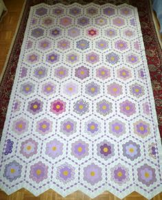 ...just Quilts: The Flower Garden Quilt Top is finished!!!  Hand pieced with running stitch, no papers.