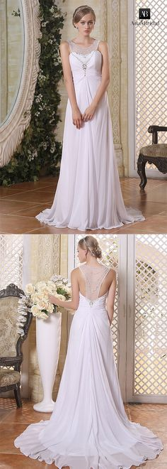 Stunning chiffon scoop neckline a-line wedding dresses. Fall in love with the delicate details of this exquisite wedding gown. (WWD21531) - Adasbridal.com