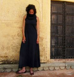Long Fleece Cowl Dress hemp/organic cotton by gaiaconceptions, $150.00